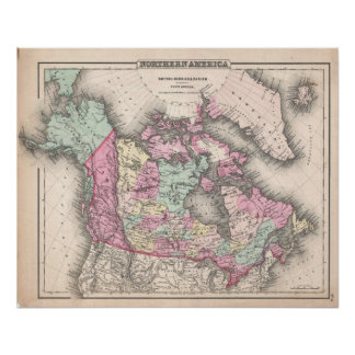 Vintage Map of Canada (1857) Poster