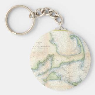 Vintage Map of Cape Cod (1857) Basic Round Button Keychain