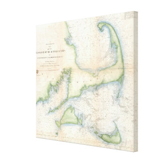 Vintage Map of Cape Cod (1857) Canvas Print