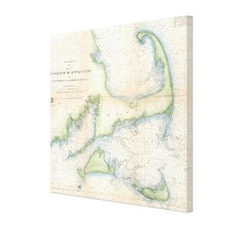 Vintage Map of Cape Cod (1857) Canvas Print
