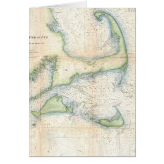Vintage Map of Cape Cod (1857) Card