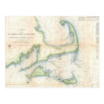 Vintage Map of Cape Cod (1857) Post Card
