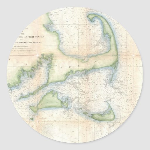 Vintage Map of Cape Cod (1857) Round Stickers