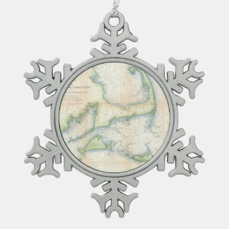 Vintage Map of Cape Cod (1857) Snowflake Pewter Christmas Ornament
