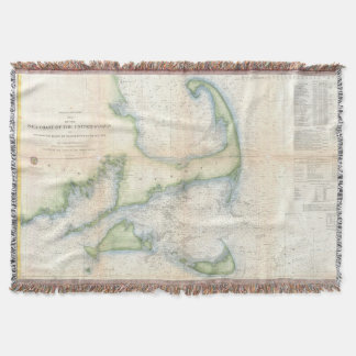 Vintage Map of Cape Cod (1857) Throw Blanket