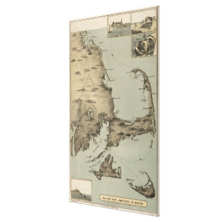 Vintage Map of Cape Cod (1885) Canvas Print