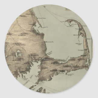 Vintage Map of Cape Cod (1885) Classic Round Sticker