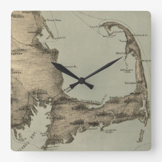 Vintage Map of Cape Cod (1885) Wall Clocks