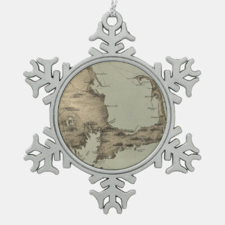 Vintage Map of Cape Cod (1885) Snowflake Pewter Christmas Ornament