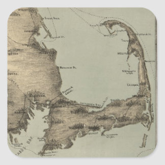 Vintage Map of Cape Cod (1885) Square Sticker