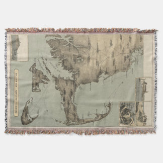 Vintage Map of Cape Cod (1885) Throw