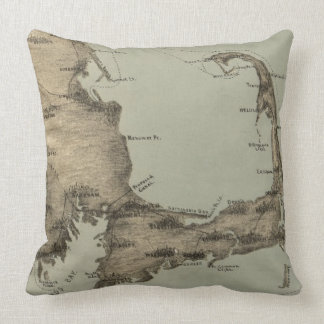 Vintage Map of Cape Cod (1885) Throw Pillow