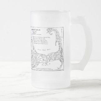 Vintage Map of Cape Cod (1890) 16 Oz Frosted Glass Beer Mug