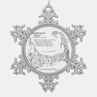Vintage Map of Cape Cod (1890) Snowflake Pewter Christmas Ornament