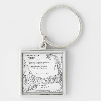 Vintage Map of Cape Cod (1890) Silver-Colored Square Keychain