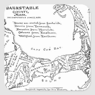 Vintage Map of Cape Cod (1890) Square Sticker