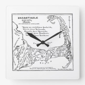 Vintage Map of Cape Cod (1890) Square Wall Clock