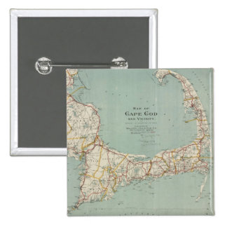 Vintage Map of Cape Cod (1917) 2 Inch Square Button