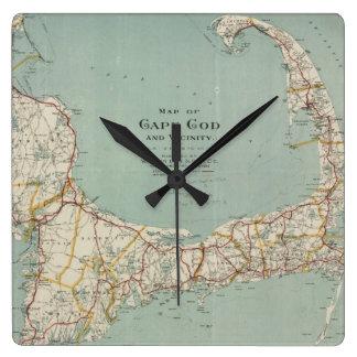 Vintage Map of Cape Cod (1917) Wallclock