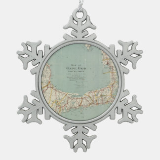 Vintage Map of Cape Cod (1917) Snowflake Pewter Christmas Ornament