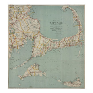 Vintage Map of Cape Cod (1917) Poster