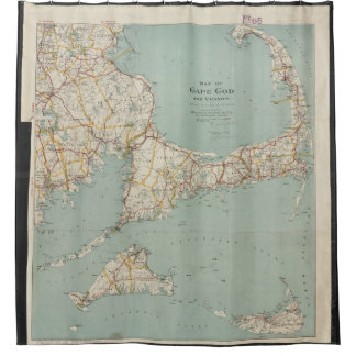 Vintage Map of Cape Cod (1917) Shower Curtain