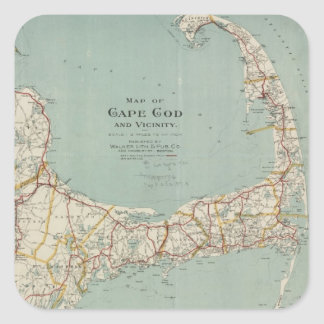Vintage Map of Cape Cod (1917) Square Sticker