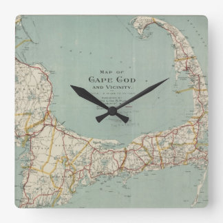 Vintage Map of Cape Cod (1917) Square Wall Clock