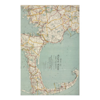 Vintage Map of Cape Cod (1917) Stationery Paper