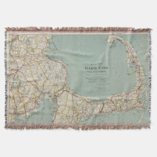 Vintage Map of Cape Cod (1917) Throw