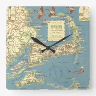 Vintage Map of Cape Cod (1940) Square Wall Clock