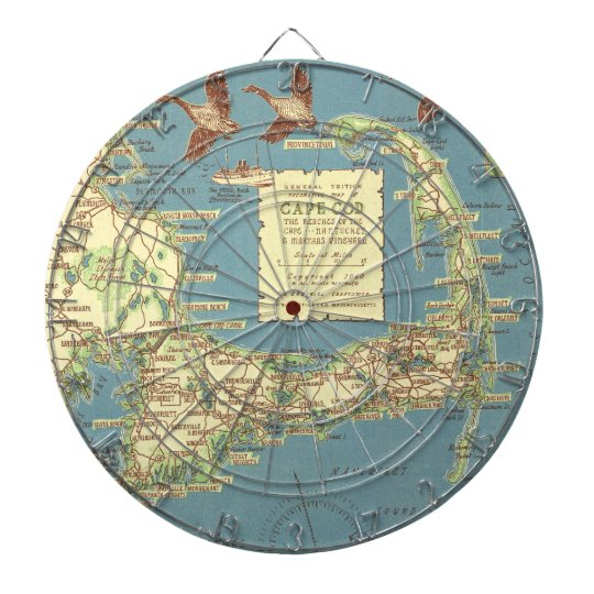 Vintage Map of Cape Cod (1940) Dart Boards