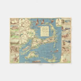 Vintage Map of Cape Cod (1940) Fleece Blanket