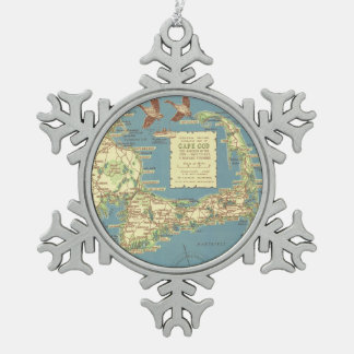 Vintage Map of Cape Cod (1940) Snowflake Pewter Christmas Ornament
