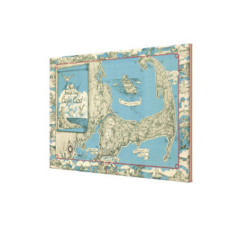 Vintage Map of Cape Cod (1945) Canvas Print