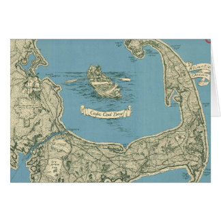 Vintage Map of Cape Cod (1945) Card