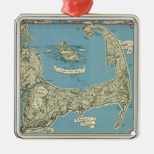 Vintage Map of Cape Cod (1945) Christmas Ornament