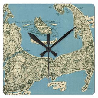 Vintage Map of Cape Cod (1945) Square Wallclock