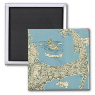 Vintage Map of Cape Cod (1945) 2 Inch Square Magnet