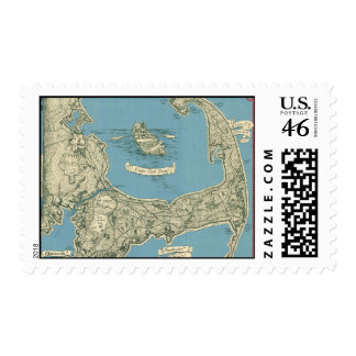 Vintage Map of Cape Cod 1945 Postage Stamps