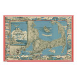 Vintage Map of Cape Cod (1945) Poster