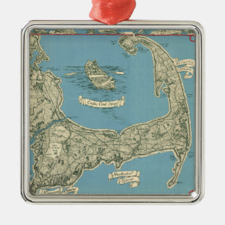 Vintage Map of Cape Cod (1945) Square Metal Christmas Ornament