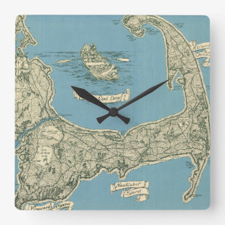 Vintage Map of Cape Cod (1945) Square Wall Clock