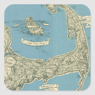 Vintage Map of Cape Cod 1945 Stickers