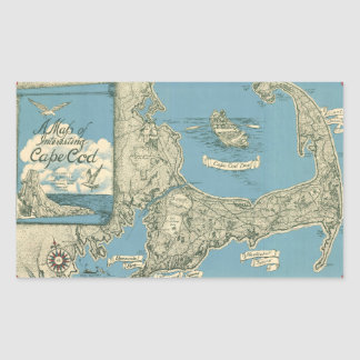 Vintage Map of Cape Cod 1945 Rectangular Stickers