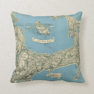 Vintage Map of Cape Cod (1945) Throw Pillows
