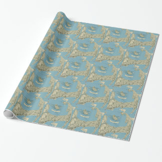 Vintage Map of Cape Cod (1945) Wrapping Paper