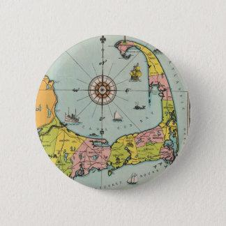Vintage Map of Cape Cod Button
