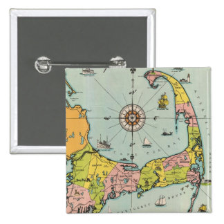 Vintage Map of Cape Cod Pinback Buttons