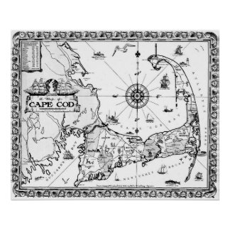 Vintage Map of Cape Cod BW Poster
